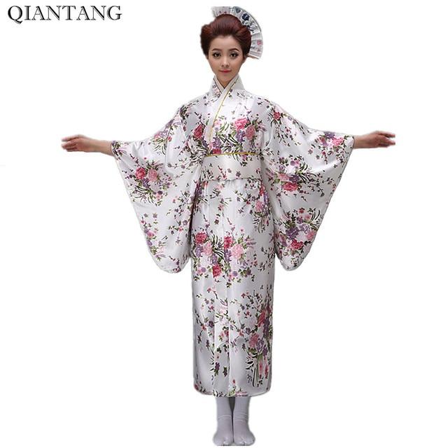2235 38 De Descuentoaliexpresscom Comprar Blanco Vintage Japonés Mujeres Kimono Yukata Haori Con Obi Vestido De Noche Rendimiento Traje Clásico