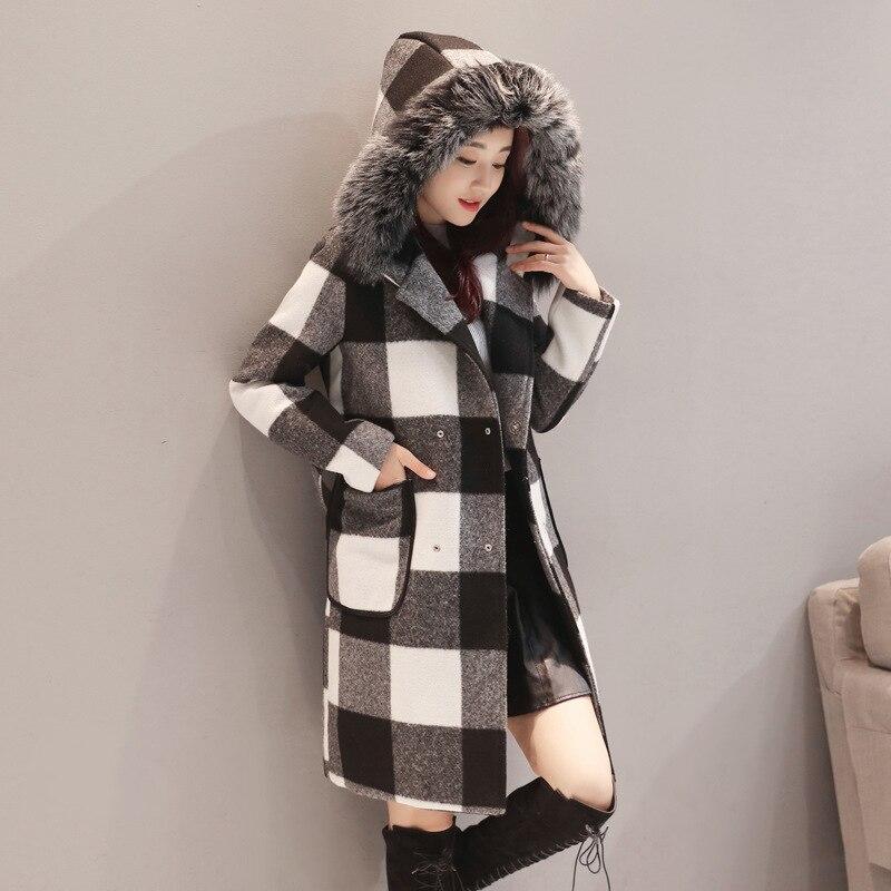 Black Femmes En Plaid Manteau Trench Cachemire Mélangée Rembourré 2017 Chaud Veste Long Mode Femme D'hiver Laine De Survêtement 0TqwxR