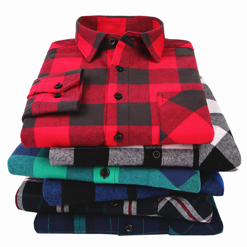 Plaid Shirt Slim-Fit Long-Sleeved Flannel Autumn Male Men's Casual 4XL 100%Cotton Spring