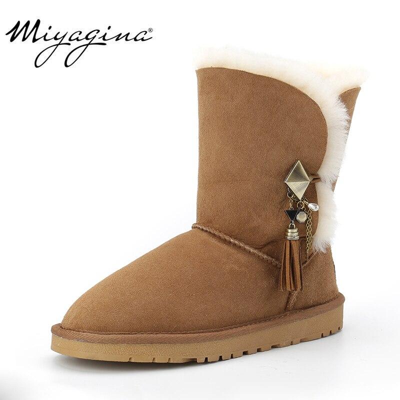 MIYAGINA haute qualité australie classique dame chaussures hiver imperméable à l'eau en peau de mouton véritable cuir vraie fourrure femmes bottes de neige