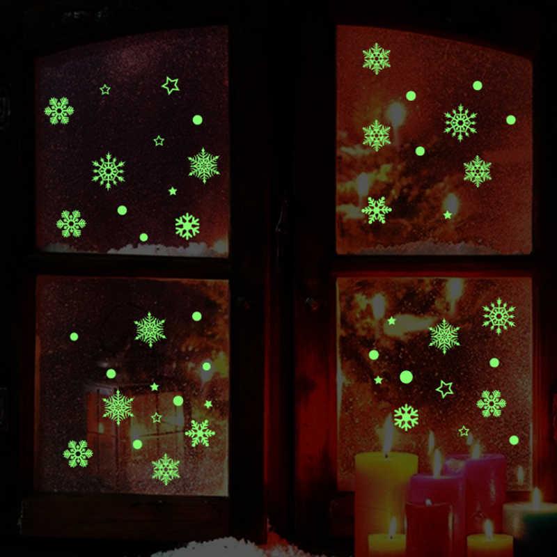 2019 neue Jahr Frohe Weihnachten Dekorationen Für Hause Leuchtenden Schneeflocke Hintergrund Dekorative Aufkleber Abnehmbare Navidad Natal