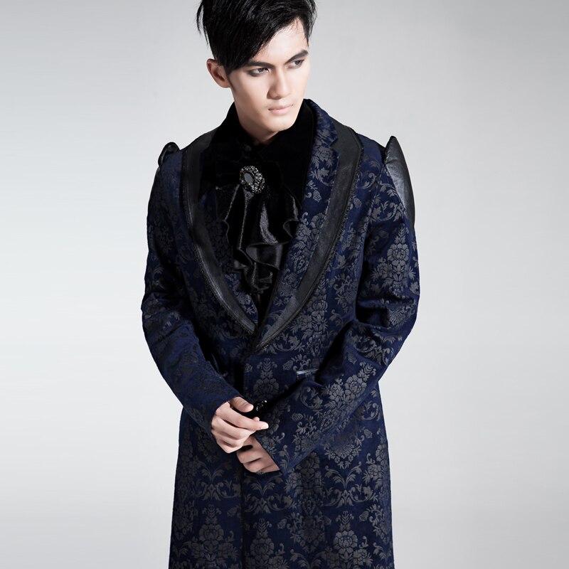 Gothic Punk viktorianischen Velvet Palace Muster Trenchcoat Männer - Herrenbekleidung