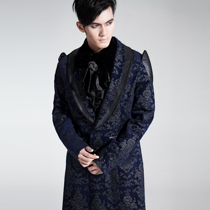 Gothic Punk Victorian Velvet Palace Pattern Trench Coat Men Medieval Prince Long Winter Party Jacket Court Flower Print