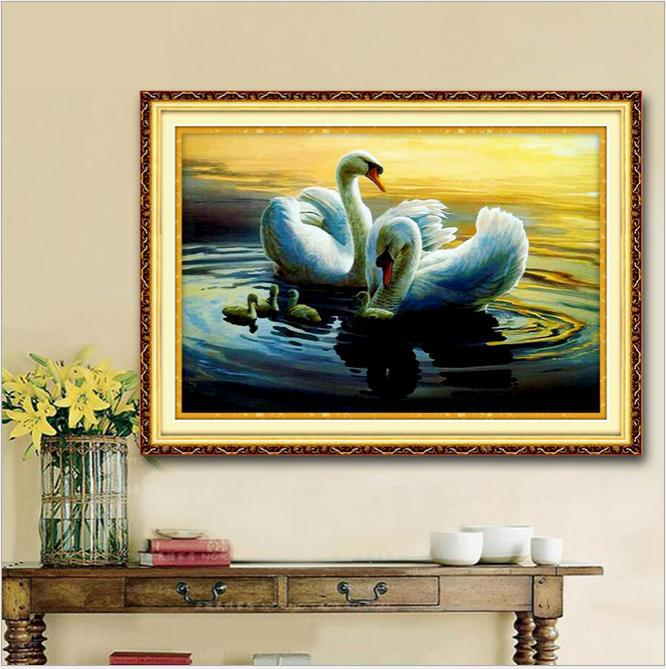 Needlework,diy Dmc Cross Stitch,sets For Embroidery Kits,precise Printed Swans Patterns Enough Thread Counted Cross-stitching Promote The Production Of Body Fluid And Saliva Aida Cloth Home & Garden
