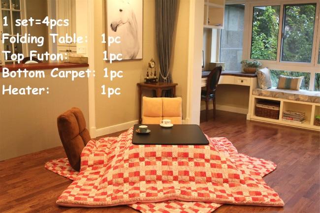 (4pcs/set) Table Legs Foldabe Japanese Kotatsu Set Table Futon Heater Living Room Furniture Reversible Top Heated Table Folding