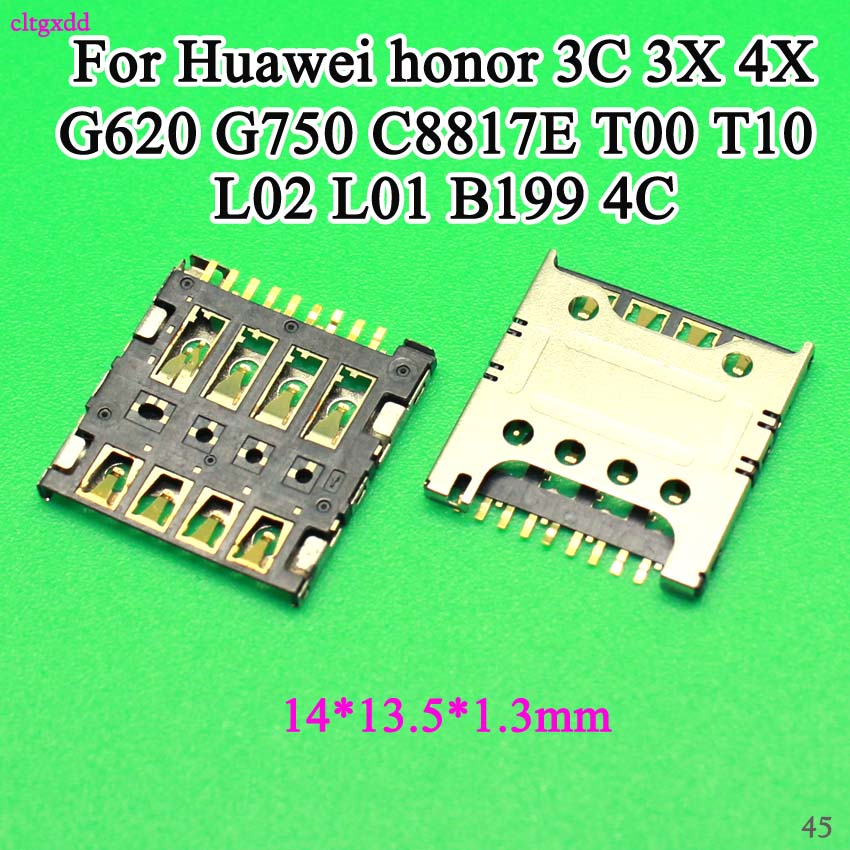 cltgxdd SIM Card Slot Tray For <font><b>Huawei</b></font> honor 3C 3X H30-<font><b>U10</b></font> -T00 -T10 G620 4X <font><b>G750</b></font> C8817E T00 T10 L02 L01 B199 4C cell phone 14*13 image