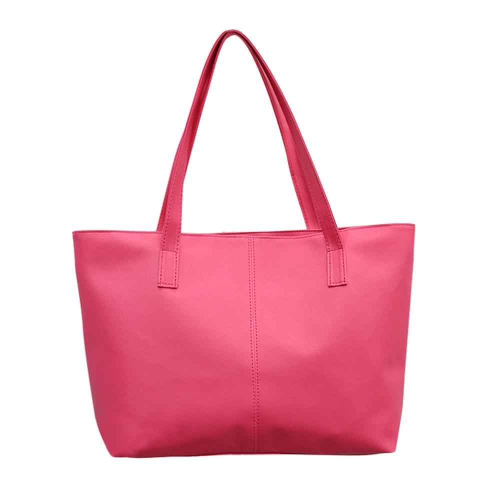 Женская кожаная сумка, роскошная Брендовая женская черная сумка, мягкая большая сумка-мессенджер на плечо, простая сумка для покупок, женская сумка#5 - Цвет: Ярко-розовый
