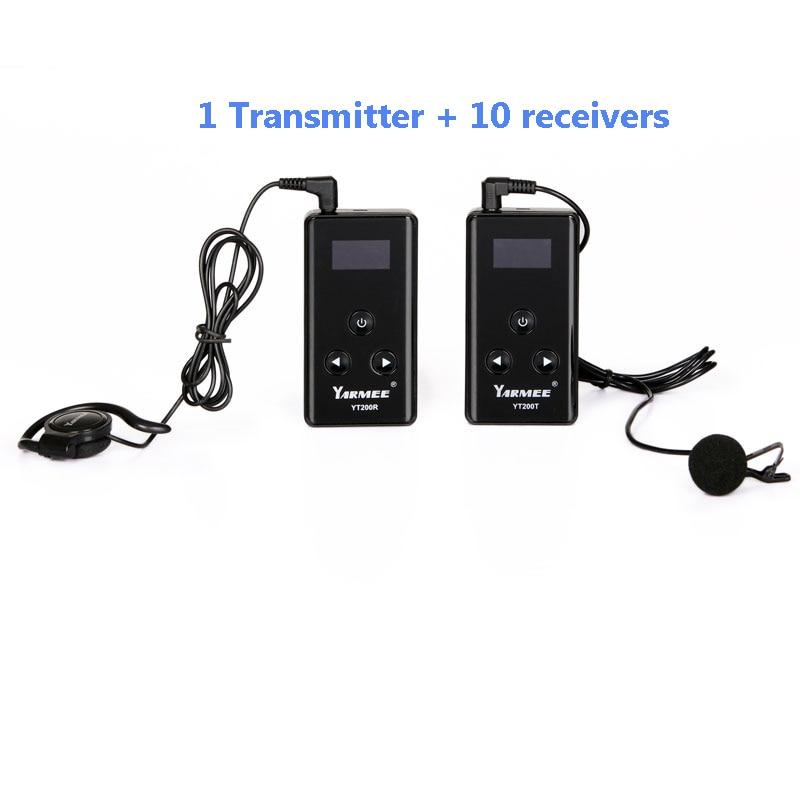 Sistema di Guida senza fili Trasmettitore Senza Fili Sistema di Traduzione Simultanea per il Tour di guida 1 trasmettitore ricevitore 10 YT200