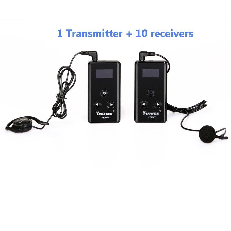 Système de Guide sans fil Émetteur Sans Fil Système de Traduction Simultanée pour Guide Touristique 1 émetteur 10 récepteur YT200