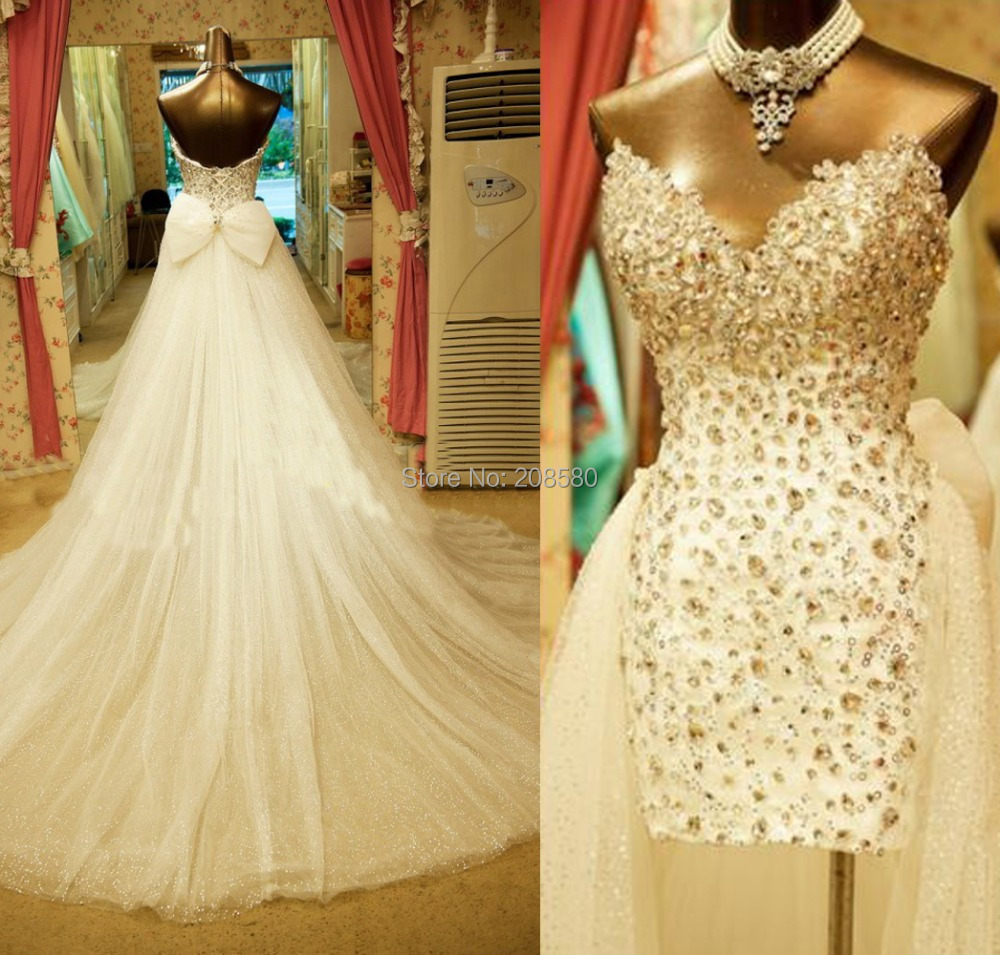 Crystal Design 2016 Wedding Dresses: Bling High Low Wedding Dresses Real Photo Crystal Vestidos