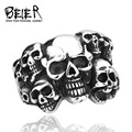 Cheap Men's Punk Biker Skull Jewelry 316L Stainless Steel Unique Design Skull Ring Jewelry  BR8-041 US size