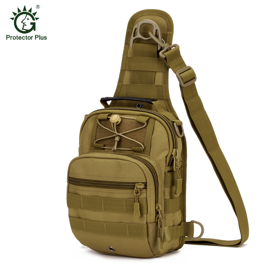 Pelindung Plus Sport Camping Man Bag Taktikal Tentera Back Pack Pek Crossbody Outdoor Hiking Sling Dada Pack Beg Memancing