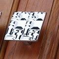Liga de zinco 32 mm cromo guarda-roupa gaveta puxa gabinete Dresser alças Modern Furniture armário lidar com relevo selo