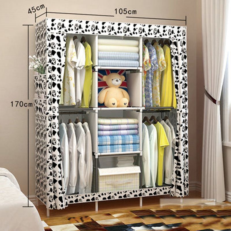 The new cloth wardrobe simple reinforcement of low housing assembly large folding cloth simple fashion moistureproof sealing thick oxford fabric cloth wardrobe rustproof steel pipe closet 133d