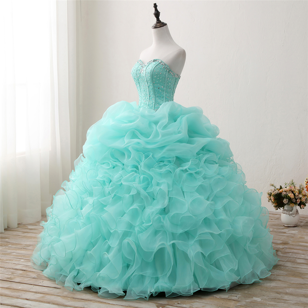 Bealegantom 2018 New Real Photo Mint Quinceanera Dresses Ball Gown - Հատուկ առիթի զգեստներ - Լուսանկար 2