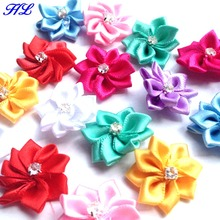 40p 25mm Mix Color Ribbon Flowers With Rhinestone Garment Sewing Supplies Handmade Appliques A010