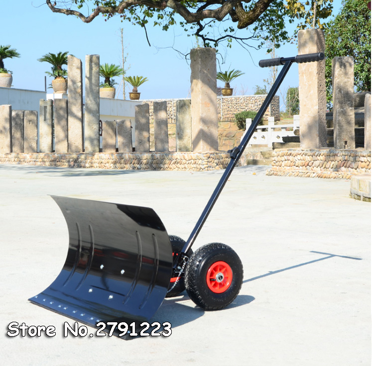 Hand-Snow-Shovel Thrower Plow Snowboard Garden-Removal Outdoor Blade Clean 2-Wheels 5-Angle
