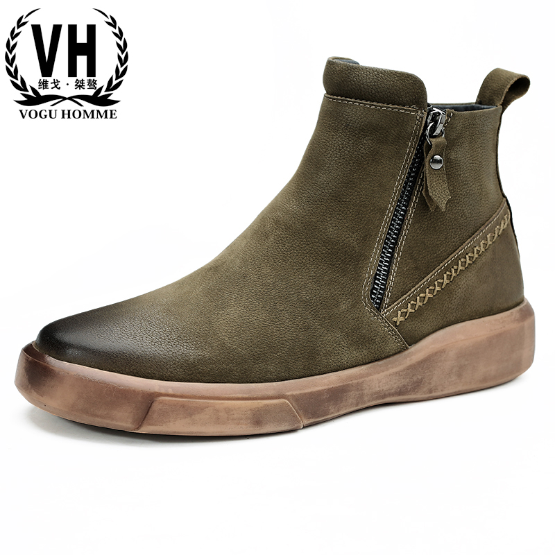 autumn winter British retro Martin boots men high-top men's shoes all-match cowhide male casual Chelsea boots Genuine Leather
