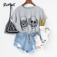 ROMWE Womens T shirt Tops Korean Summer T-shirt Women Clothes Grey Skull Print Round Neck Short Sleeve T-shirt