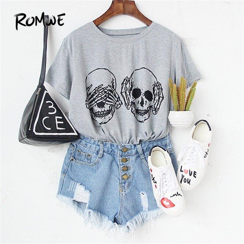 ROMWE Womens T shirt Tops Korean Summer T-shirt Women Clothes Grey Skull Print Round Neck Short Sleeve T-shirt