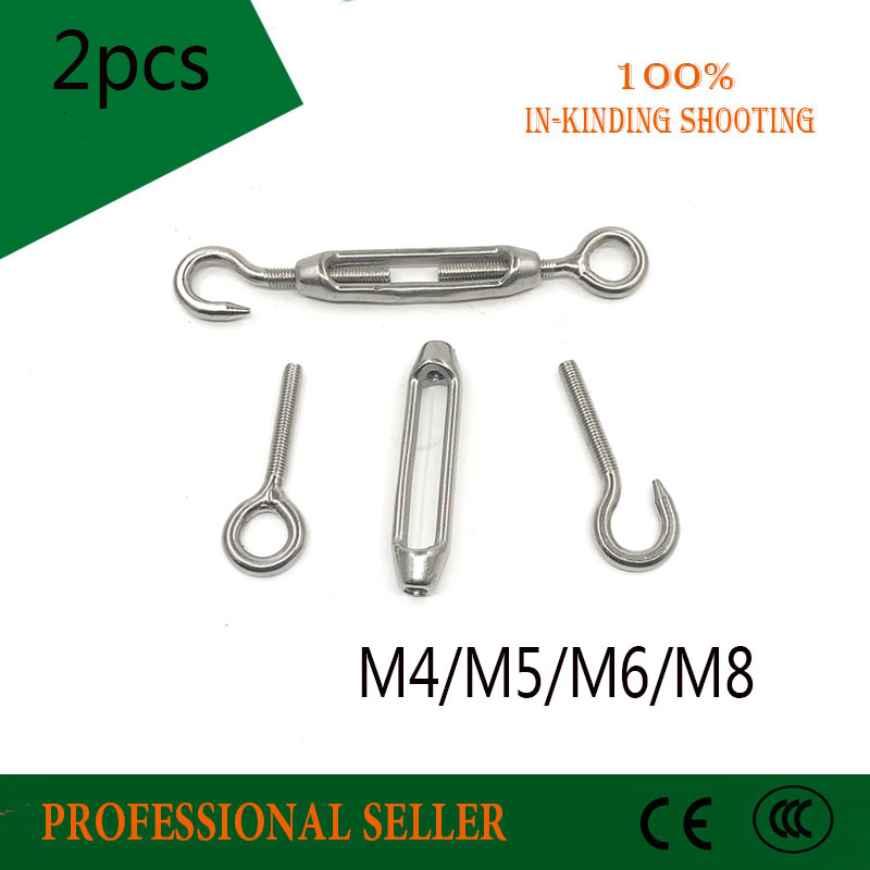 2PCS M4 M5 M6 M8 304 Stainless steel flower basket screw Rotate Chain wire rope tensioner Bloom bolt tension <font><b>turnbuckle</b></font> image