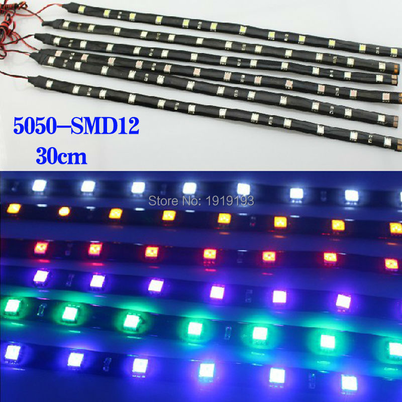 1PCS NEW Arrival SMD5050 30cm 12 Neon Flexible Waterproof LED Strip Bar Light Motor Truck Car