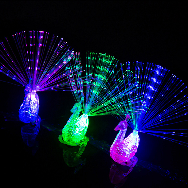 Image 2 - 5pcs Hot peacock shape glowing finger ring LED Finger Light Laser Beams Ring luminous toys wedding decoration party supplies-in Glow Party Supplies from Home & Garden