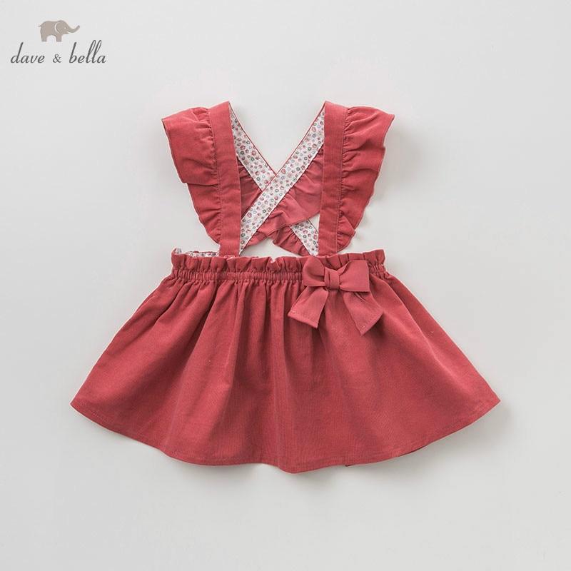DBM9436 dave bella autumn/winter Princess baby dresses girls Lolita dress children sleeveless high quality dress