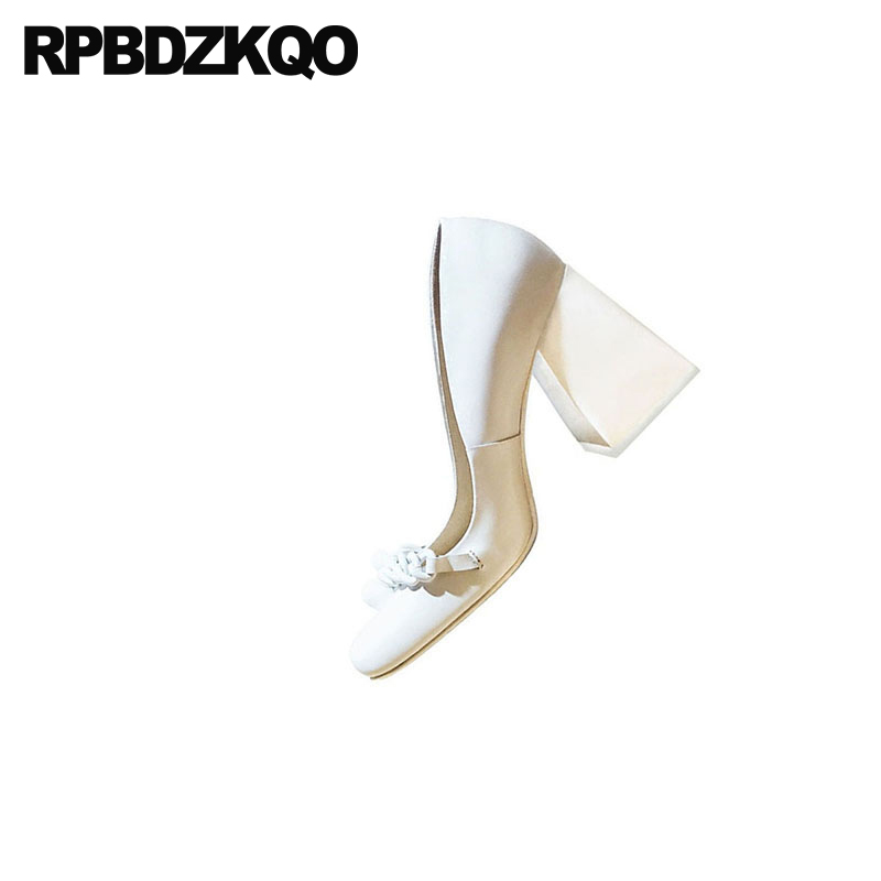 10 42 Genuine Leather Brand Block Ladies Pumps Size 33 Square Toe 3 Inch High Quality Sexy White Heels Shoes Big 2018 Customized - 6