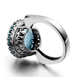 Image 4 - Szjinao Big Vintage Aquamarine Ring For Women Real 925 Sterling Silver Branded Jewellery Handmade Round Gemstones Wedding Ring