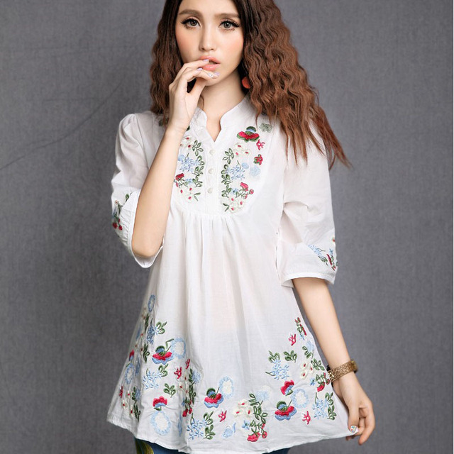 New Summer 2018 Vintage Mexican Ethnic Flower Embroidery Boho Hippie  Peasant Blouse Cotton Top Vestidos gown