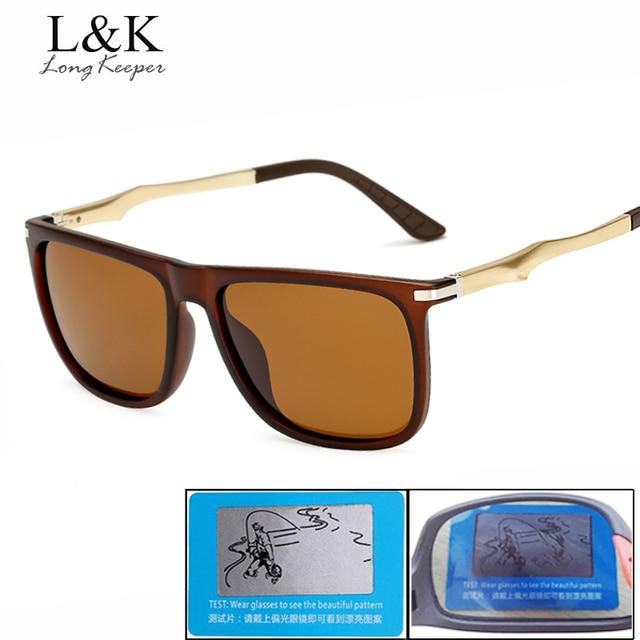 Longo Goleiro Cor Marrom Polarizada Óculos De Sol Dos Homens Com Lente HD UV400  Proteção de 0179add5df