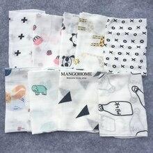 Детское полотенце, 10 шт./лот, хлопок, 28*28 см, муслиновое полотенце, носовые платки, Двухслойное полотенце для протирания