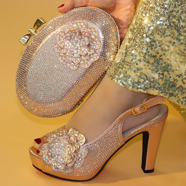 New Champagne color Italian Shoes With Matching Bags African Women Shoes and Bags Set For Prom Party Summer Sandal