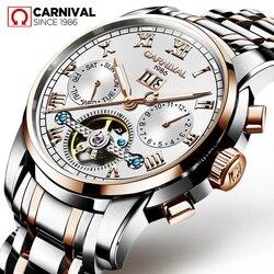 Relogio Masculino karnawał męskie zegarki Top marka luksusowe automatyczny zegarek mechaniczny pełna stali nierdzewnej biznes wodoodporne zegarki sportowe