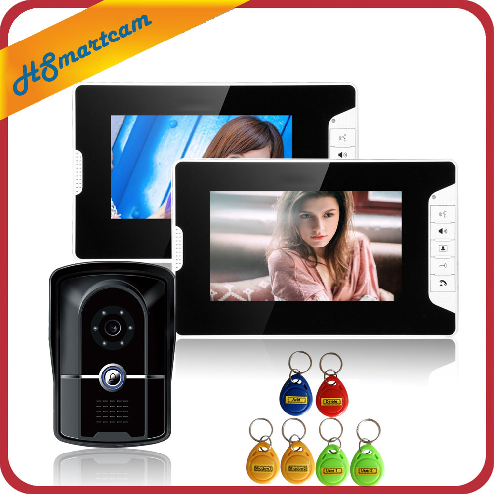 New 7 inch Video Intercom Door Phone System 2 Monitor + 1 RFID Access Doorbell Waterproof Camera Inductive Card FREE SHIPPING door intercom video cam doorbell door bell with 4 inch tft color monitor 1200tvl camera