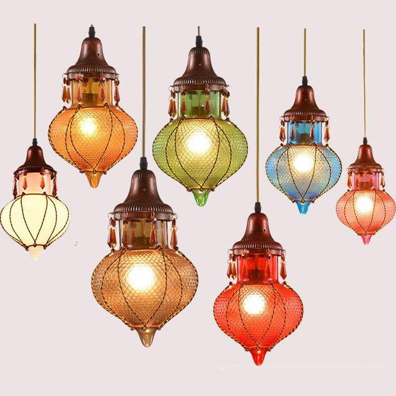Vintage Exotic Southeast Asia Thailand Handmade Glass Iron Led E27 Pendant Light For Dining Room Living Room Bar Restaurant 2163