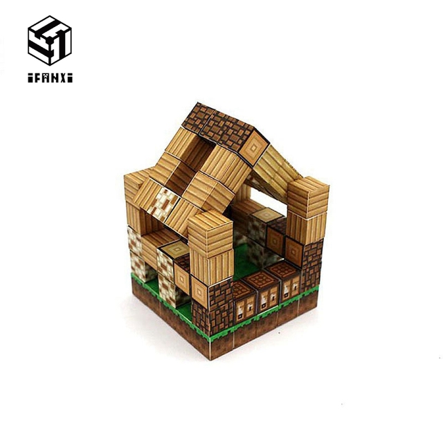 Minecraft Magnetic Building Blocks Models Bricks Hand Paste Compatible With Lego DIY Brain Toy Hardcover-Forest House Set