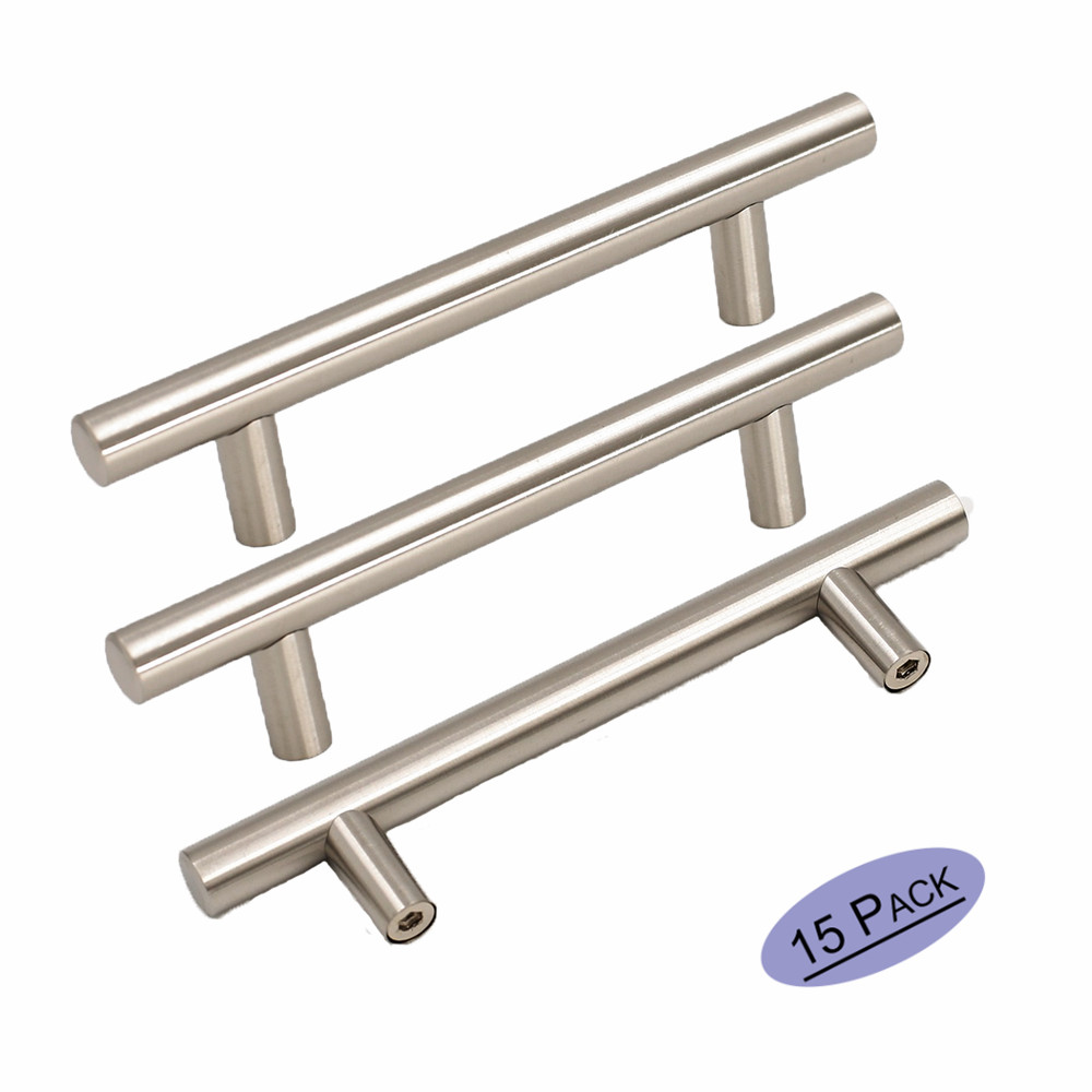 Cabinet Pulls Cupboard Drawer Knobs HD201BSS Stainless Steel Office Closet Dresser Drawer Pulls Handles Brushed Nickel 15Pack 2pcs set stainless steel 90 degree self closing cabinet closet door hinges home roomfurniture hardware accessories supply