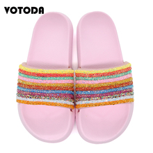 лучшая цена Women Rainbow Slippers Striped Flat Indoor Flip Flop Bling Sequined Slides Summer Beach Sandals Woman Crystal Jelly Slip On Shoe