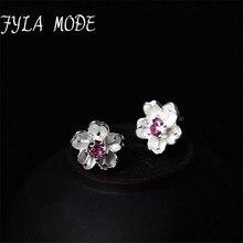Fyla Mode 2018 Christmas Collection Elegant 925 Sterling Silver White Flower Stud Earrings Women Wedding Luxury Fine Jewelry