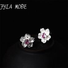 Fyla Mode font b 2018 b font Christmas Collection Elegant 925 Sterling Silver White Flower Stud