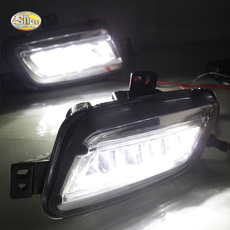 SNCN Plug & play LED fog lamp for Ford Everest 2016-2019 LED Daytime Running Lights with Yellow signal lamp фонарик everest et3 004 led