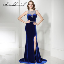 Royal Blue Long Evening Dresses 2018 Elegant Velvet Beaded Crystals Side Slit Sexy Prom Celebrity Gowns Keyhole Back CC373
