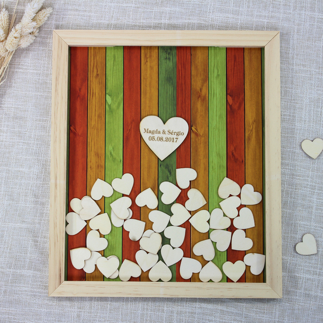 Personalize Wedding Guest Book Rustic Wooden Frame Hearts Guestbook