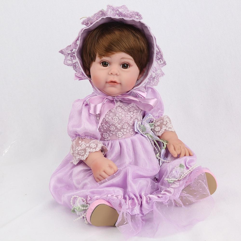 NPK DOLL Reborn Baby Purple Princess Full Vinyl Soft Silicone Lovely Girl Boneca Sunshine Toy 17 inch Popular Gift For Kids самокаты велосипеды ролики авто sunshine baby