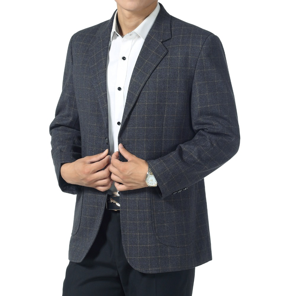 WAEOLSA Father Blazer Blue Gray Plaid Jacket Suit Mature Men Business Casual Blazers Spring Autumn Garment Man Suit Coat Outfit in Blazers from Men 39 s Clothing