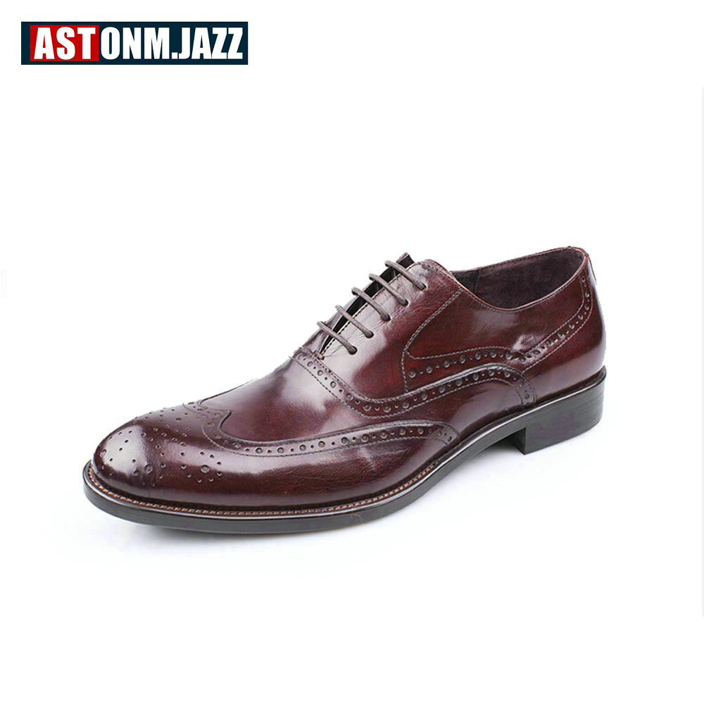 New Branded Men's Casual Full Grain Leather Oxfords Shoes Fulll Brogues Shoes Lace Up Pointed Toe Wedding Dress Shoes Business платье vay vay va017ewxky27
