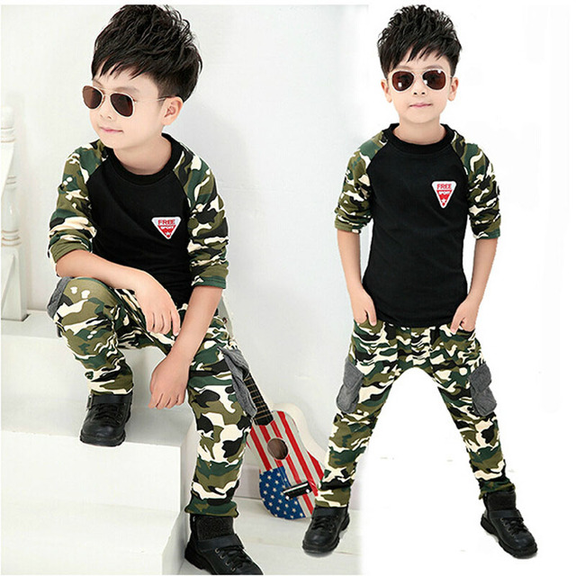 2016 Autumn Camouflage Children's Clothing Sets For Boys Girls Cotton Camo Sports Sets Active 2-13Y Kids Clothes Outdoor SC584