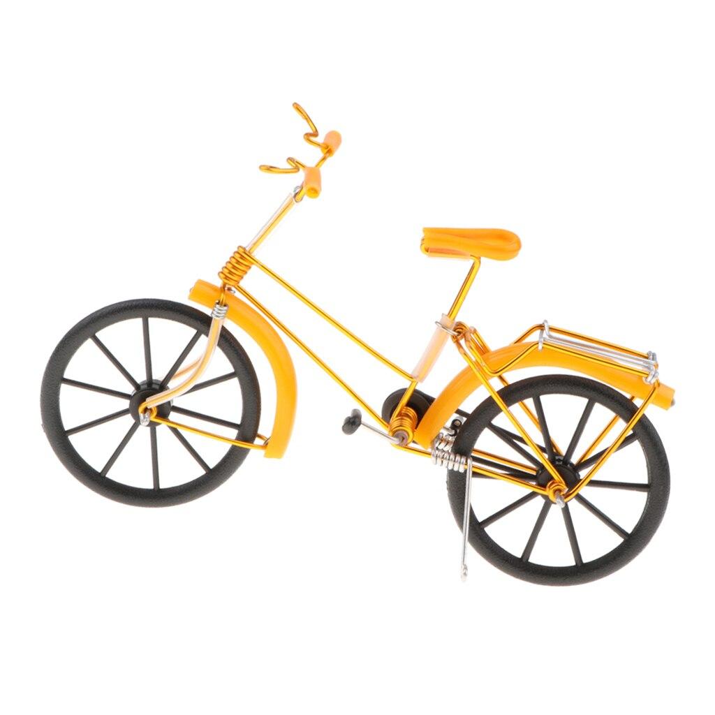 Iron Decorative Bicycle Model Desk Decor, 7.9''L X 2.6''W X 5.5''H - Yellow, Size(LxWxH): 20 X 6.5 X 14 Cm